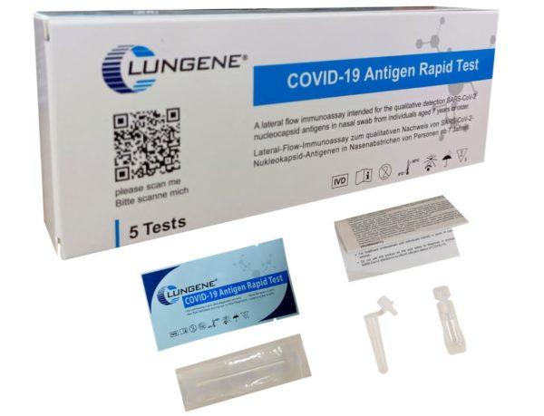 CLUNGENE COVID-19 Antigen Rapid Test Cassette 5er Pack mit Laien-Zulassung